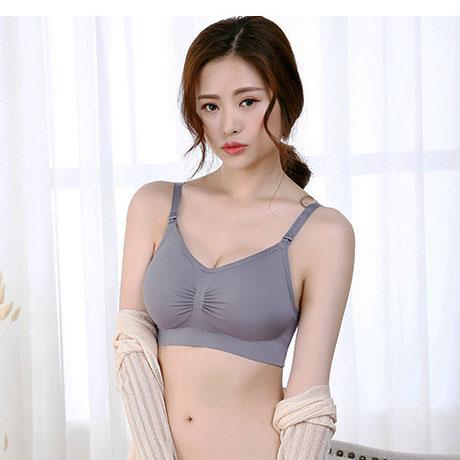 non wired maternity nursing bra-gray 無鋼圈哺乳胸圍/孕婦彈性胸圍-灰色